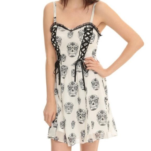 0fbc09268b Royal Bones Tripp Sugar Skull white Corset Dress. M 5b21302faa57192d75264dd2